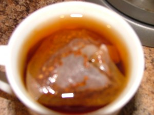 Rooibos tea bag brewing